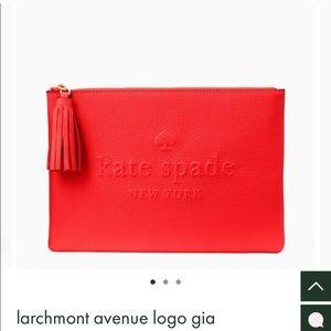 NEW Kate spade larchmont Avenue logo Gia clutch